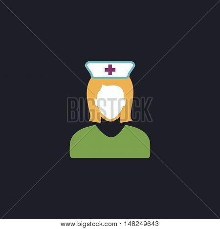Nurse Color vector icon on dark background