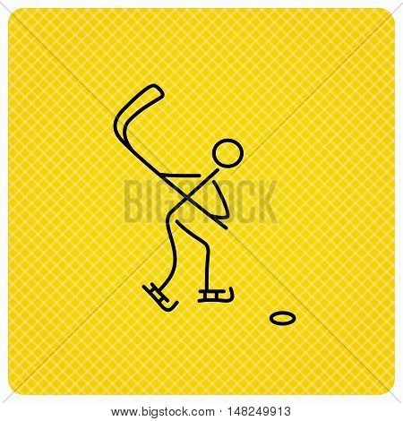Ice hockey icon. Professional sport game sign. Linear icon on orange background. Vector