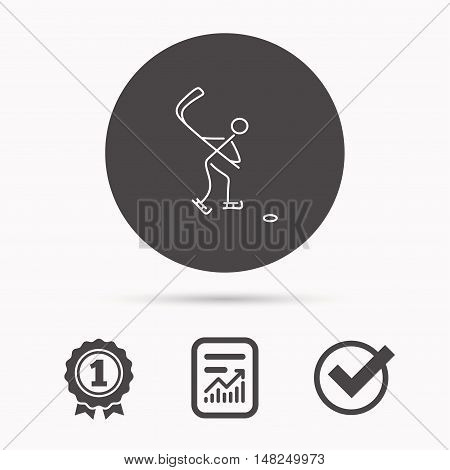 Ice hockey icon. Professional sport game sign. Report document, winner award and tick. Round circle button with icon. Vector