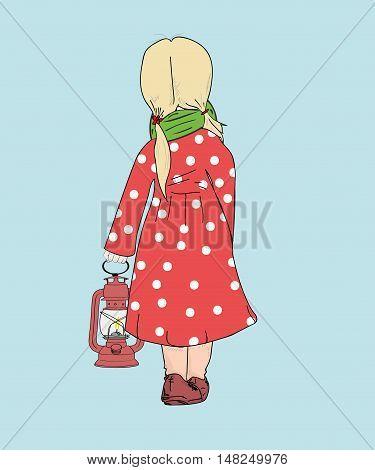 girl holding a kerosene lamp lighting the way. vector illustration.