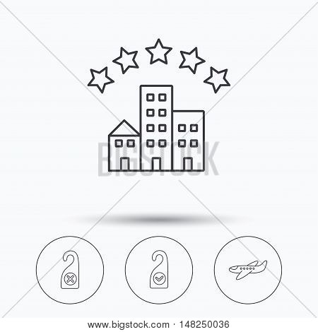 Hotel, airplane and do not disturb icons. Clean room linear sign. Linear icons in circle buttons. Flat web symbols. Vector