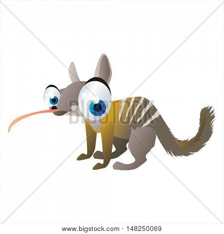 vector funny image of cute bright color animal. Numbat