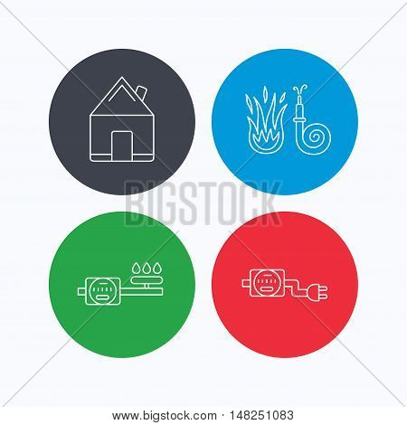Real estate, fire hose and gas counter icons. Electricity counter linear sign. Linear icons on colored buttons. Flat web symbols. Vector