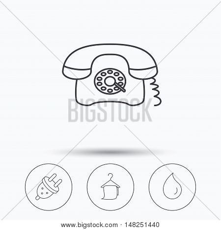 Retro phone, bath towel and electric plug icons. Water drop linear sign. Linear icons in circle buttons. Flat web symbols. Vector