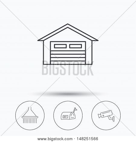 Mailbox, video monitoring and garage icons. Shower linear sign. Linear icons in circle buttons. Flat web symbols. Vector