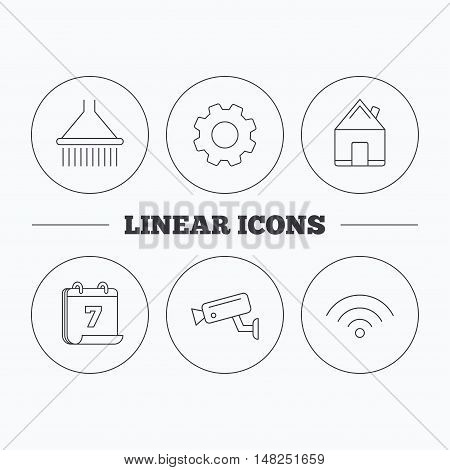Wi-fi, video monitoring and real estate icons. Shower linear sign. Flat cogwheel and calendar symbols. Linear icons in circle buttons. Vector