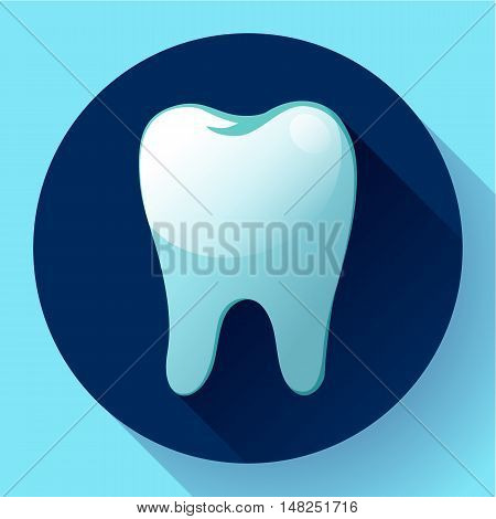 Flat tooth Icon Vector with long shadow. Dentist symbol. Suit for app and UI.