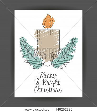 Candle inside frame icon. Merry Christmas season and decoration theme. Sketch and draw design. Vector illustration