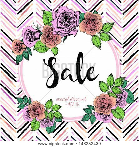 Vector banner for great sale. Round text template. Rose gold flowers and chevron modern brush spot in trendy pastel colors. Use for business fashion promotion.