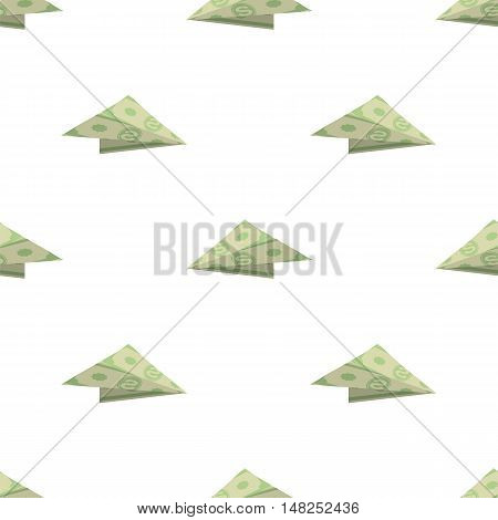Dollar Paper Concept Plane Seamless Pattern on White Background. American Banknotes. Cash Money. US Currency