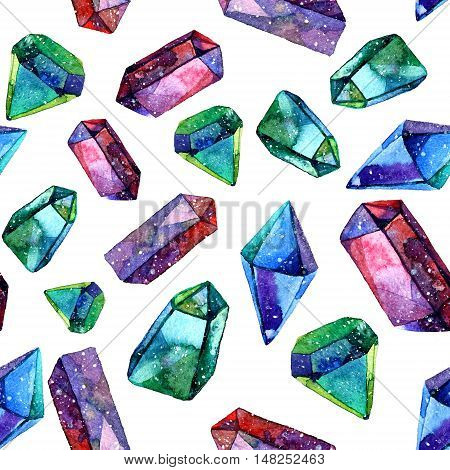 Watercolor illustration of diamond crystals White background