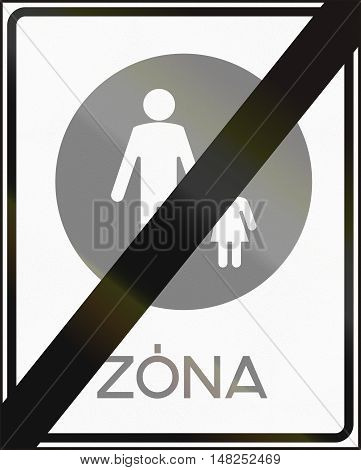 Road Sign Used In Hungary - End Of Pedestrian Zone