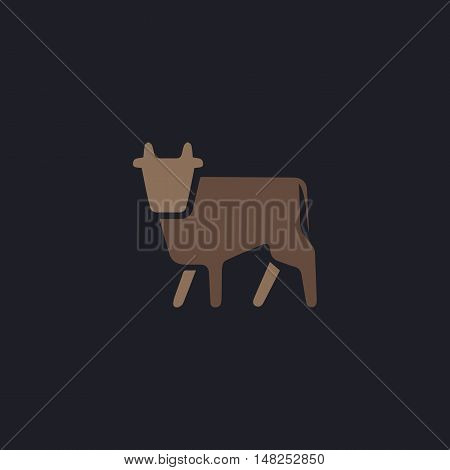 Cow Color vector icon on dark background