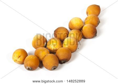 Collection Of Natural Ripe Orange Palm Dates On White