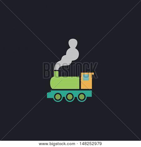 locomotive Color vector icon on dark background