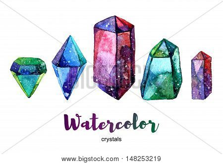 Multicolor minerals. Watercolor illustration of crystal. Set of colorful gemstones.
