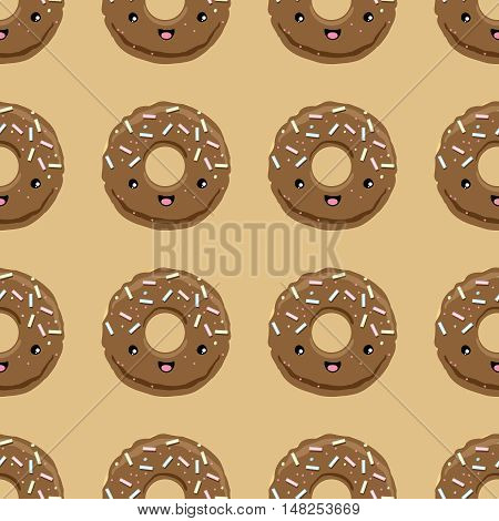 Seamless pattern with chocolate glazed donuts in kawaii style on beige brown background. Vector illustration.