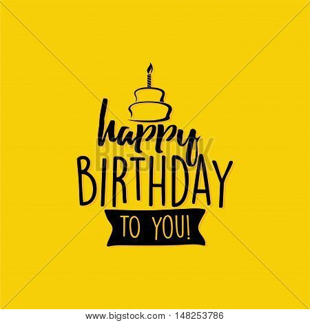 Abstract Happy Birthday label on a yellow background