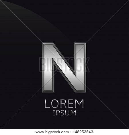 Silver N Letter emblem. Business logo template