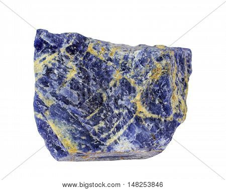Raw natural mineral Sodalite on white  background
