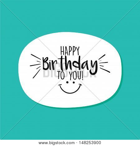 Abstract Happy Birthday label on a blue background