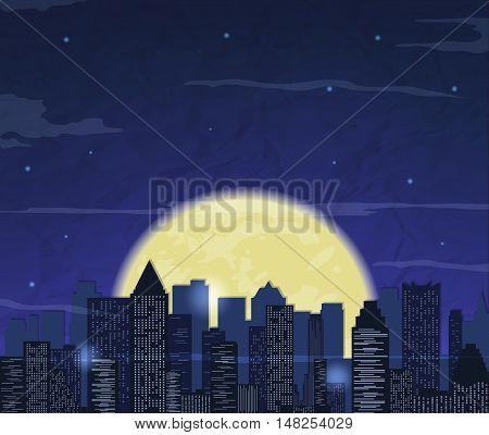 Night city skyline. Abstract background. Modern night city landscape. Vector illustration