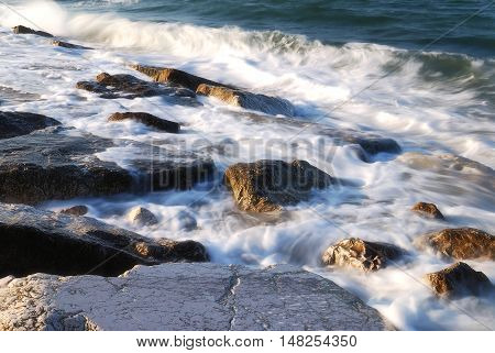 cliff near the shoreline of the beach