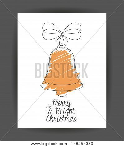 Bell inside frame icon. Merry Christmas season and decoration theme. Sketch and draw design. Vector illustration