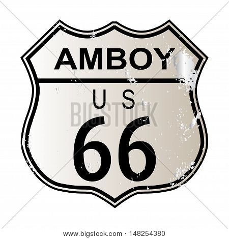 Amboy Route 66 traffic sign over a white background and the legend ROUTE US 66