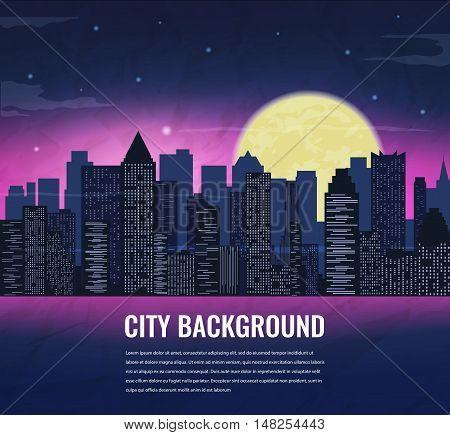 City landscape at night in moonlight. Vector illustration