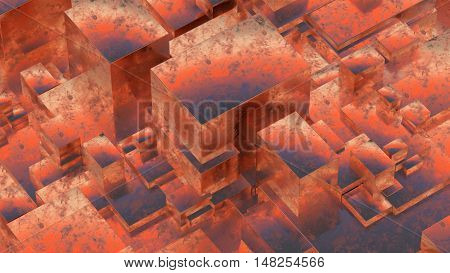 Abstract rusty metallic cubes. Grunge background. 3D illustration.