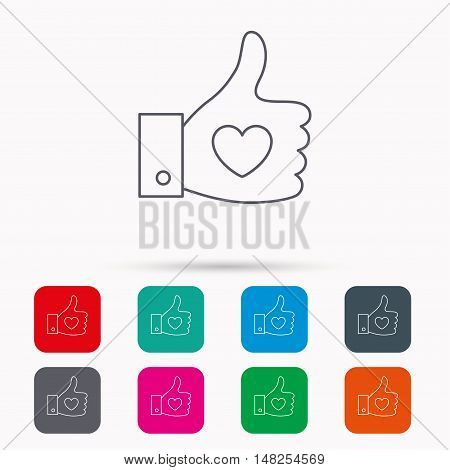 Thumb up like icon. Super cool vote sign. Social media symbol. Linear icons in squares on white background. Flat web symbols. Vector