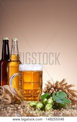 Assortment of fresh beer in bottles, ears of wheat, ripe fruit hops, with beer mug, brewing ingredients, a glass bottle with a drink