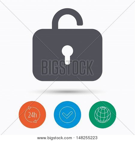Lock icon. Privacy locker sign. Private access symbol. Check tick, 24 hours service and internet globe. Linear icons on white background. Vector