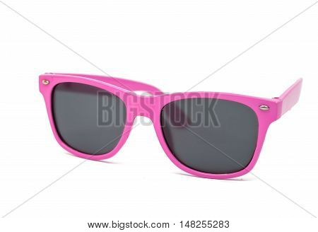 Women's pink sunglasses isolated on white background