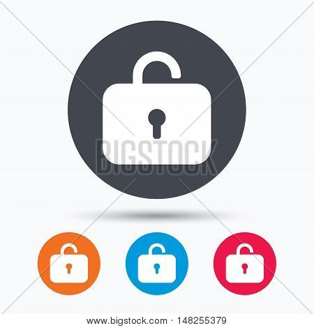 Lock icon. Privacy locker sign. Private access symbol. Colored circle buttons with flat web icon. Vector