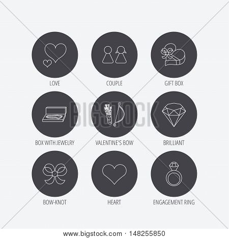 Love heart, brilliant and engagement ring icons. Bow, couple and gift box linear signs. Valentine amour arrows flat line icons. Linear icons in circle buttons. Flat web symbols. Vector