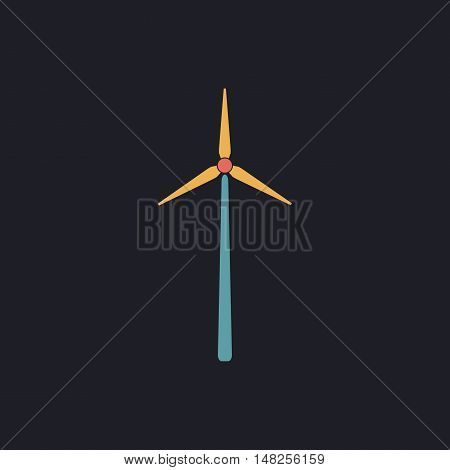 Windmill Color vector icon on dark background