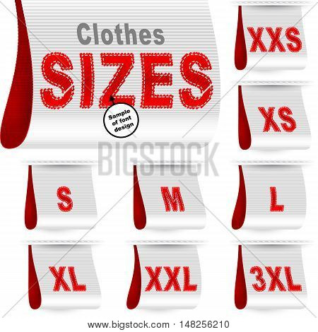 Clothes size labels with standard designation symbols of garment dimensions for customers - XXS XS S M L XL XXL XXXL; Font of symbols has design embroidered from threads; White Red vector set Eps10