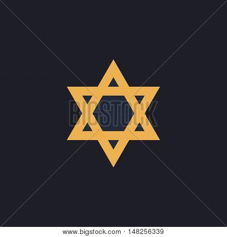 David Star Color vector icon on dark background