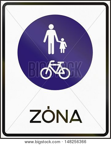 Road Sign Used In Hungary - Pedestrian And Cyclists Zone