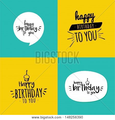 Abstract happy birthday labels on squares with different color