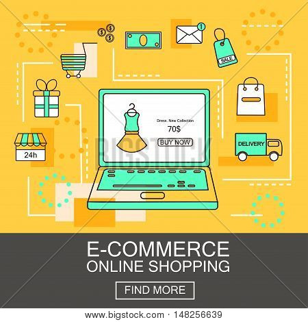 E-Commerce and Online Shopping Business. Internet and mobile marketing concept. For web and mobile phone services and apps.Vector Line Illustration.