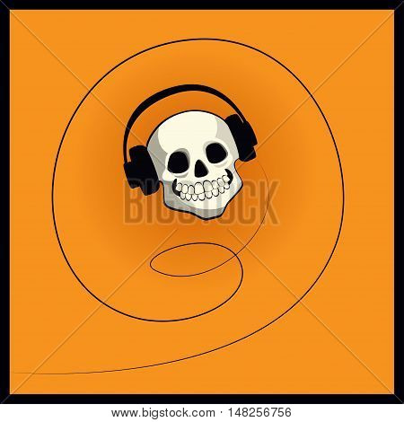 Vector cartoon illustration of a skull with headphones. Square format, orange background.