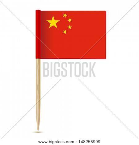 China Flag. Flag toothpick on white background 10eps