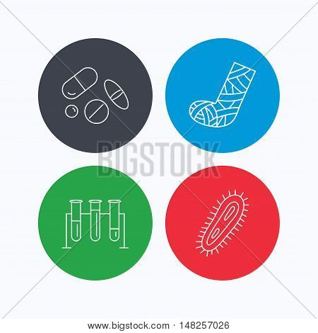 Broken foot, bacteria and medical pills icons. Lab bulbs linear sign. Linear icons on colored buttons. Flat web symbols. Vector