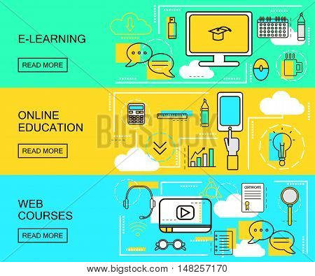 E-learning Online Education and Web Courses horizontal banners. Distance Trainings. Study Icons with thin line style. vector Illustration
