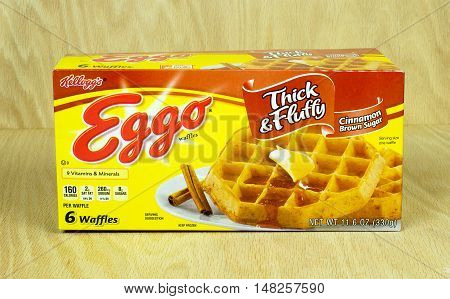 RIVER FALLS, WISCONSIN-SEPTEMBER 21,2016: A box of Eggo brand frozen waffles with a wood background. Eggo is a brand of Kellogg's Inc.