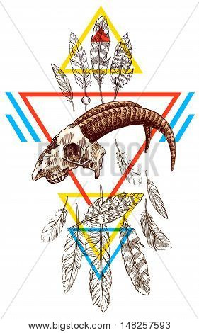Vector sketch illustration  animal skull. Drawing by hand. Boho style. Use for posters, postcards, print for t-shirt, tattoo.