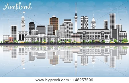 Auckland Skyline with Gray Buildings, Blue Sky and Reflections. Vector Illustration. Business Travel and Tourism Concept with Modern Buildings. Image for Presentation Banner Placard and Web Site.